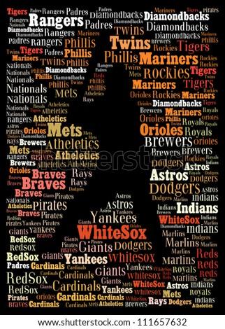 Major league baseball teams: text graphics - stock photo