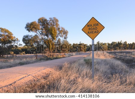 Major road ahead warning Australian sign Give Way concept idea planning direction - stock photo