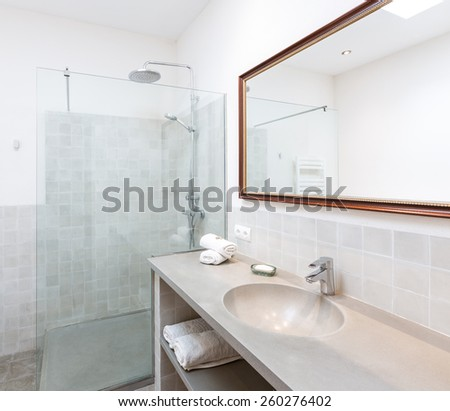Majorca Balearic bathroom indoor house in Balearic islands Mediterranean architecture of Mallorca - stock photo