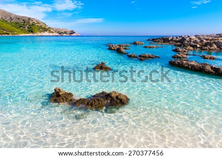 Majorca Cala Agulla beach in Capdepera Mallorca at Balearic Islands of Spain - stock photo