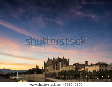 Majorca cathedral in Balearic Islands               - stock photo