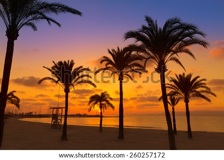 Majorca El Arenal sArenal beach sunset near Palma de Mallorca in Balearic Islands spain - stock photo