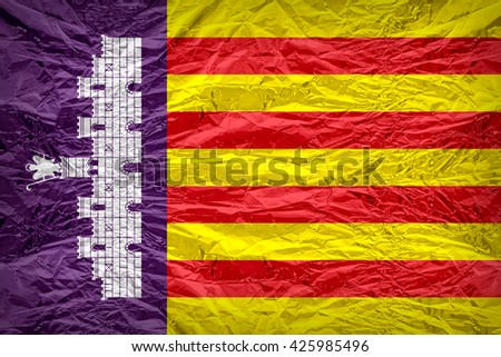 Majorca or Mallorca flag pattern overlay on floyd of candy shell, 3D illustration style