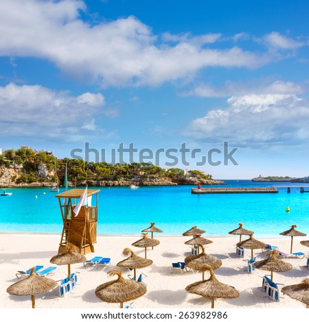 Majorca Porto Cristo beach in Manacor of Mallorca Balearic island at spain - stock photo