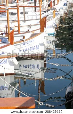 MAJORCA SPAIN-APRIL 13: Puerto de Soller Port of Mallorca with llaut boats on April 13, 2015 in Soller Majorca in Balearic Islands, Spain - stock photo