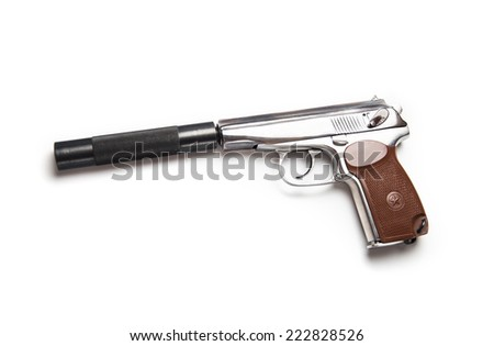 makarov pistol with silencer isolated on the white background - stock photo