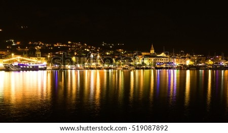 Makarska city in the night, popular Croatian resort, Europe