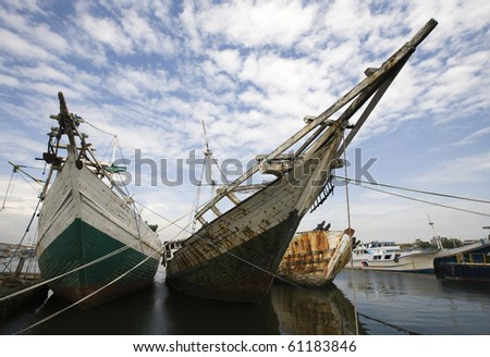 Makassar harbor - stock photo