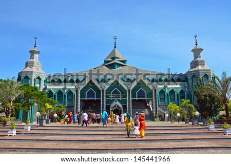 MAKASSAR, INDONESIA � JUNE 22: Masjid Al Markaz Al Islami on June 22, 2013 in Makassar, Indonesia.Masjid Al Markaz Al Islami was built in 1994 and is able to accommodate up to ten thousand worshipers. - stock photo