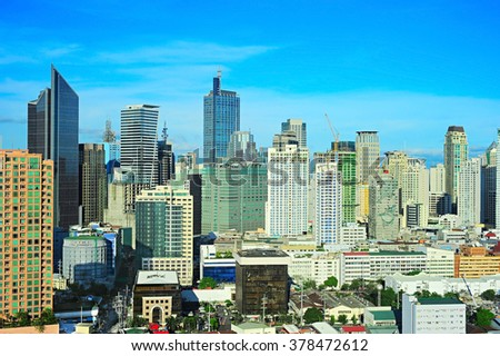 Makati city - modern financial and business district of Metro Manila, Philippines - stock photo