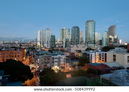 Makati Skyline at night in Metro Manila, Philippines. Makati is a city in the Philippines Metro Manila region and the country`s financial hub.