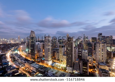 Makati Skyline at night. Makati is a city in the Philippines` Metro Manila region and the country`s financial hub. It`s known for the skyscrapers and shopping malls.