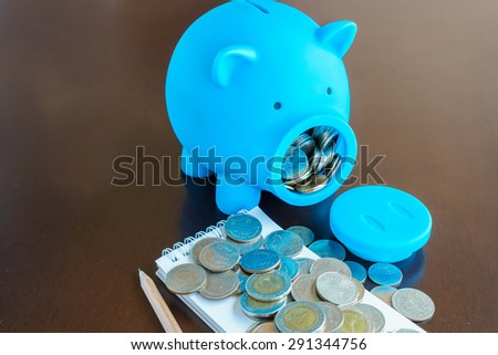 Make a rich by planning money with saving, Money from Piggy Bank mouth - stock photo