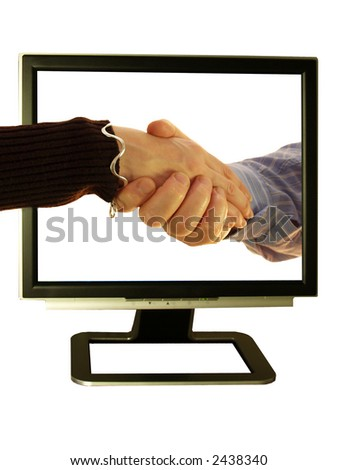 Make friends use your pc and shake hands - stock photo
