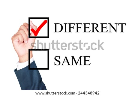 make it different by tick box by businessman draw on whiteboard white background - stock photo