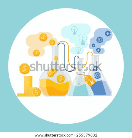 Make money concept. Business concept of alchemy experiment for generating money and ideas with laboratory equipments in flat design. Raster version - stock photo