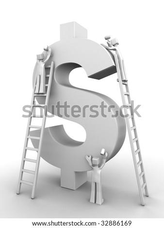 Make money concept three team member making a dollar symbol 3d illustration - stock photo