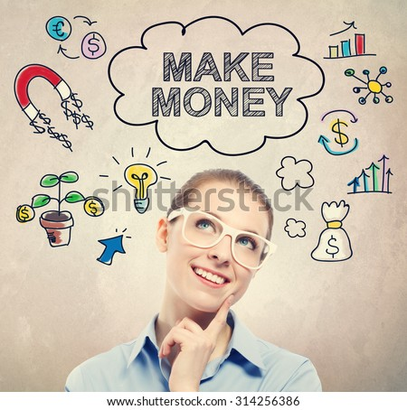 Make Money idea sketch with young business woman wearing white eyeglasses  - stock photo
