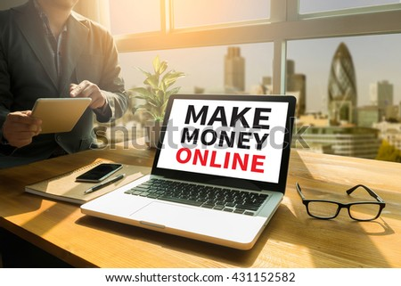 MAKE MONEY ONLINE Thoughtful male person looking to the digital tablet screen, laptop screen,Silhouette and filter sun