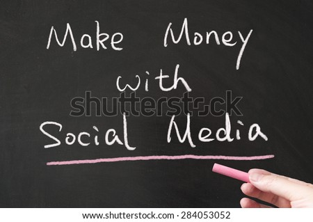 Make money with social media words written on the blackboard using chalk - stock photo