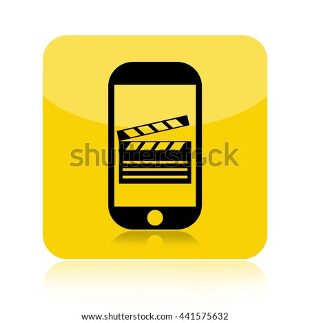 Make movie by a smartphone icon with a clapper board on touch screen isolated on white background - stock photo