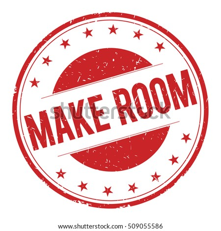 MAKE-ROOM stamp sign text word logo red.