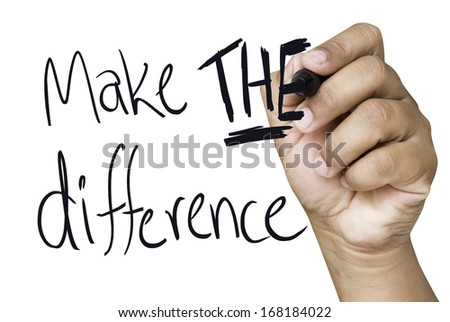 Make the difference hand writing with a black mark on a transparent board