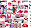 Make up and cosmetics collection - stock photo