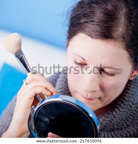 Make-up applying - stock photo