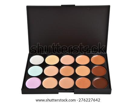 Make-up base. Palette concealer and correctors. - stock photo