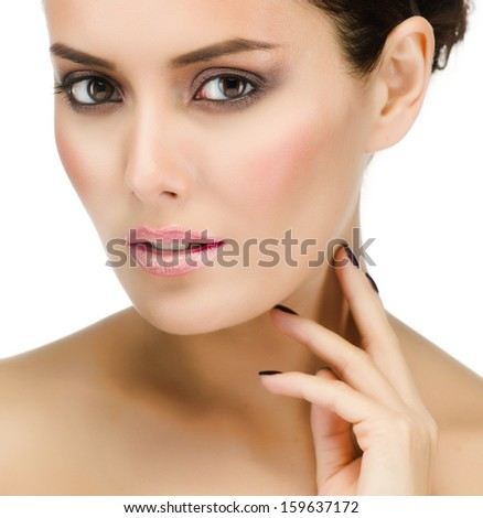 make up , beauty woman face,  portrait of attractive young caucasian girl brunette , close up , isolated on white , studio shot , head and shoulders, looking at camera, eyes, lips - stock photo