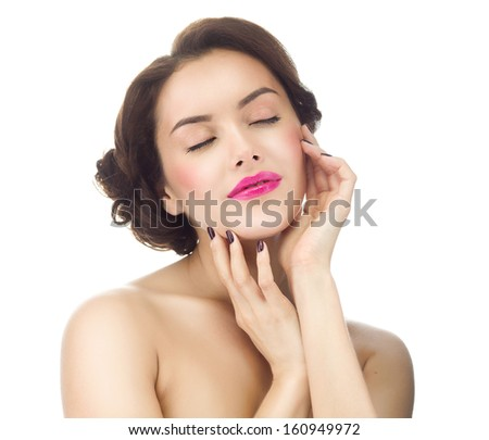 make up , beauty woman face,  portrait of attractive young caucasian girl brunette , close up , isolated on white , studio shot , head and shoulders, eyes closed, lips, hands - stock photo