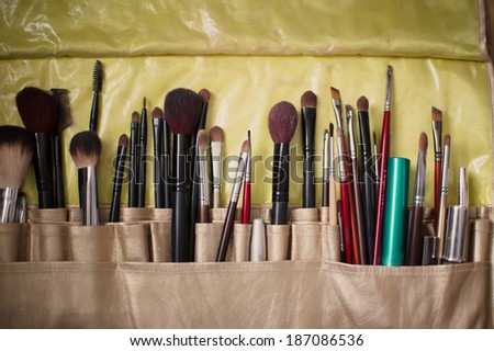 Make-up brushes in case - stock photo