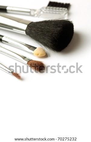 make-up brushes on white background - stock photo