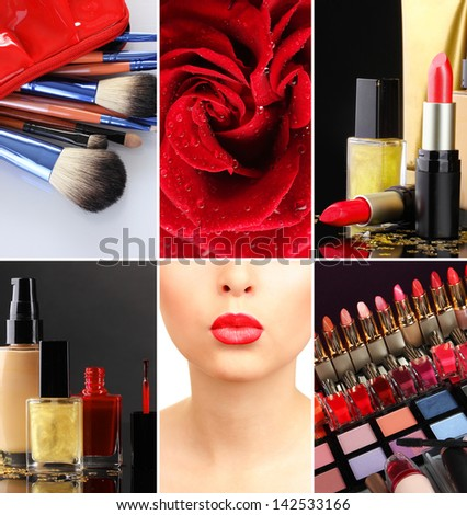 Make-up collage - stock photo