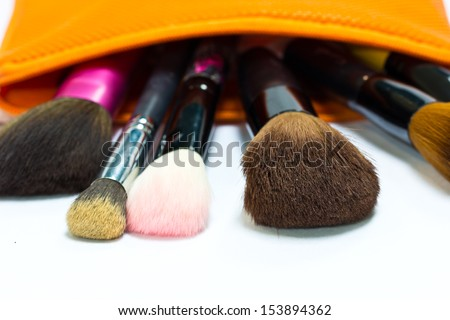 Make-up collage in the pocket - stock photo