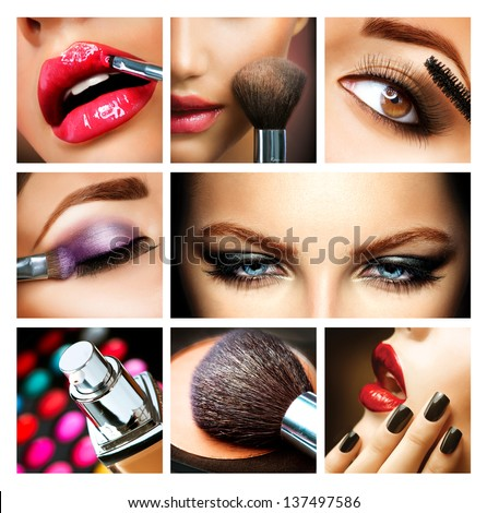 Make-up Collage. Professional Makeup Details. Makeover - stock photo