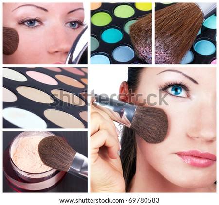 Make-up collage. Woman with make-up brush and make-up tools - stock photo
