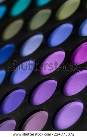 Make-up Colorful Eyes Shadow Palette. Vertical Perspective  Closeup.