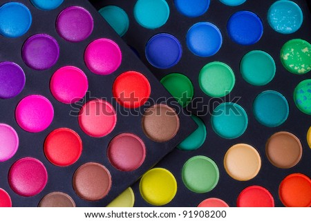 make-up colorful eyeshadow palettes, as background - stock photo