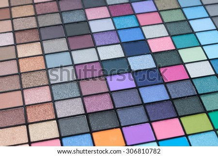 Make-up colorful eyeshadow palettes (selective focus) - stock photo