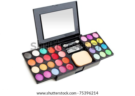 Make-up colorful makeup palette closeup - stock photo