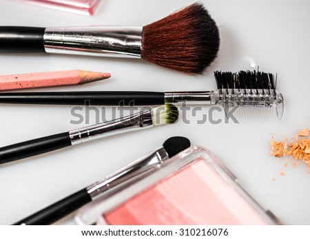 Make-up cosmetics accessories and beauty tools isolated on white background