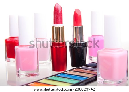 Make-up cosmetics in various shades - stock photo
