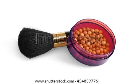 make up cosmetics natural hair animal brush powder lipstick maskara nailpolish liner - stock photo