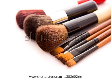 Make-up crushes and bag background. - stock photo