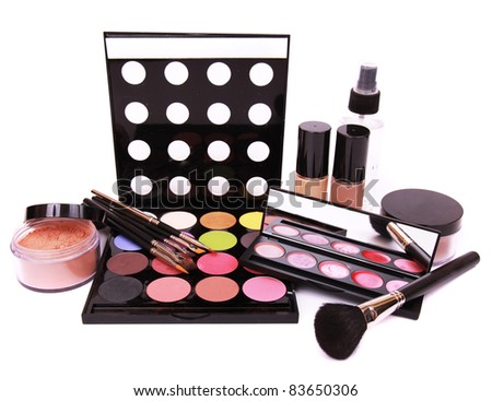 Make up equipment, isolated on white background - stock photo