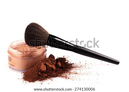 Make-up, Make-Up Brush, Mineral. - stock photo