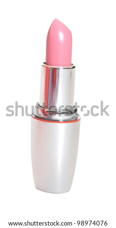 make up object: lipstick over white background - stock photo