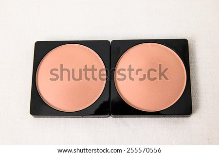 Make-up Palette Of Colorful Eyeshadow Over White Background - stock photo